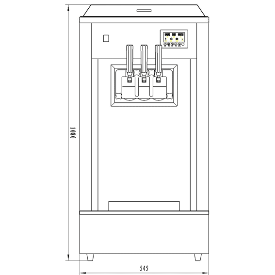 Ice Cream Machine For Sale BQ323TP-Front-Drawing